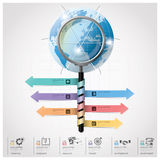 Global Business And Financial Infographic With Magnifying Glass. Spiral Arrow Diagram Design Template Royalty Free Stock Photos