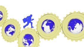 Global business gears with globes and businessman. Businessman in blue running over golden gears with globes inside facing different countries global business Stock Photo