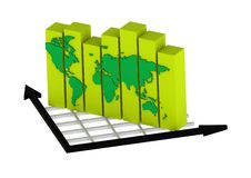 Global Business Graph. A   rendered artwork with white background stock illustration