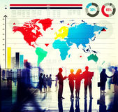 Global Business Graph Growth World Map Concept stock images