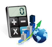 Global business graph and modern calculator Stock Images