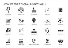 Global business  icon set Stock Image
