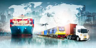Global business logistics import export background and container cargo freight ship vector illustration