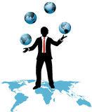 Global business man juggles business worlds Royalty Free Stock Photography
