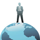 Global business man on top of the world Royalty Free Stock Image
