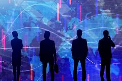 Global business, meeting and stock concept. Businesspeople silhouettes on abstract global forex background. Global business, meeting and stock concept. Double Royalty Free Stock Image