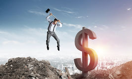 Global business and money concepts. Falling dollar currency. Royalty Free Stock Image