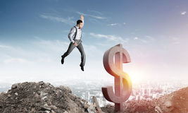 Global business and money concepts. Falling dollar currency. Royalty Free Stock Photos