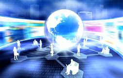 Global Business Network. Social and business networking with people from around the world connect to each other via internet Stock Photo