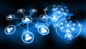 Global business network. On blue background