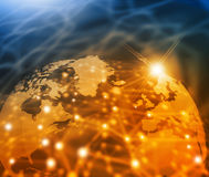 Global business network. Futuristic background of Global business network, internet, Globalization concept Royalty Free Stock Images