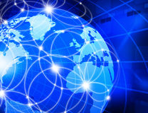 Global business network. Futuristic background of Global business network, internet, Globalization concept Stock Images