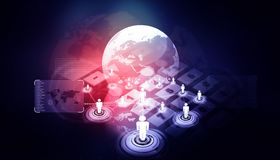 Global business network. 3d illustration Royalty Free Stock Photography