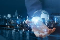 Global business network in hand . Global business network in hand on a blurred background Stock Photo
