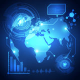 Global business network technology background, vector. Illustration Royalty Free Stock Image