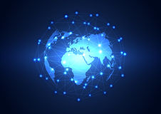 Global business network technology background, vector Stock Photos