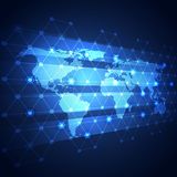 Global business network technology background, vector Stock Photo