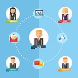Global business organization flat concept illustration Royalty Free Stock Photo