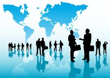 Global Business People. Team concept with a world map and group of people Stock Image