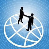 Global business people agreement handshake globe. Global network business men partner in a  handshake for world agreement Royalty Free Stock Photos