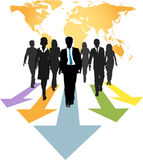 Global business people forward progress arrows. Group of global business people walk forward on progress arrows from a world map vector illustration