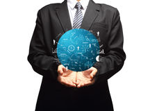 Global business plan in hand of businessman Stock Photo