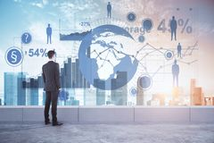 Global business and research concept. Businessman looking at city with abstract map. Global business and research concept. Double exposure Royalty Free Stock Images
