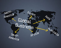 Global Business Shows Planet Globalize And Corporate. Global Business Indicating Commercial Globalization And Corporation Stock Photos