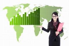 Global business statistics. Asian business woman presenting global business statistics Stock Photography