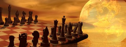 Global business strategy chess Royalty Free Stock Photography