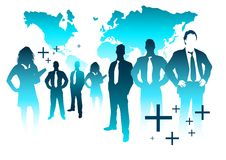 Global business Team. A business team with the world in the background Royalty Free Stock Photos