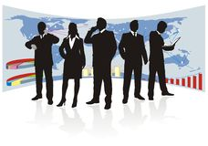 Global business team, silhouette Royalty Free Stock Image