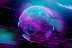 Global business and technology concept. Creative glowing digital globe background. Global business and technology concept. 3D Rendering stock illustration