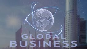Global Business text with 3d hologram planet Earth against the backdrop of the modern metropolis vector illustration