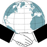 Global business trade agreement handshake. East meets west as business or political leaders seal a global deal with an international handshake Stock Photo