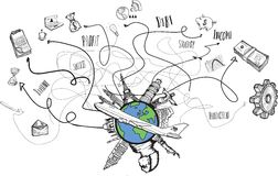 Global business and travel doodles Stock Photo