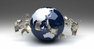 Global Business with Ukrainian Hryvnia. Computer generated animation stock footage