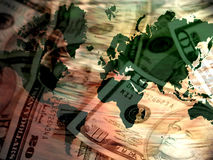 Global Business. US Currency and World Map Royalty Free Stock Photography