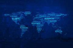 Global business words map on city and graph background, Elements Royalty Free Stock Image