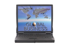 Global business world map on laptop screen. Illustration of global business sign with world map in background on laptop screen. Communication, corporate concept stock image