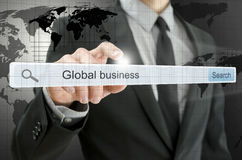 Global business written in search bar Stock Image