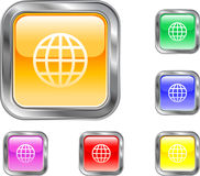 Global Button. This is a Global Symbol internet or web button Stock Photo