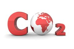 Global Carbon Dioxide CO2 - Shiny Red. Chemical symbol CO2 for carbon dioxide in shiny red - a globe is replacing the letter o Royalty Free Stock Photo