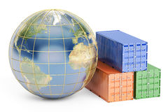 Global cargo shipping concept, 3D rendering Royalty Free Stock Images