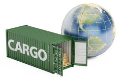 Global cargo shipping and delivery concept, 3D rendering Stock Images