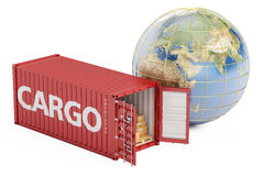 Global cargo shipping and worldwide delivery concept, 3D renderi Royalty Free Stock Photos