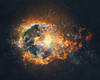 Global catastrophe concept . Mixed media Stock Photography