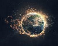 Global catastrophe concept . Mixed media Stock Photo