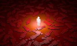 Global catastrophe symbolic figures of people. 3D illustration. Standing Out from the Crowd. Available in high-resolution and several sizes to fit the needs of Stock Image