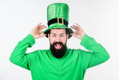 Global celebration of irish culture. Saint patricks day holiday. Green color part of celebration. Myth of leprechaun. Happy patricks day. Man bearded hipster stock photography